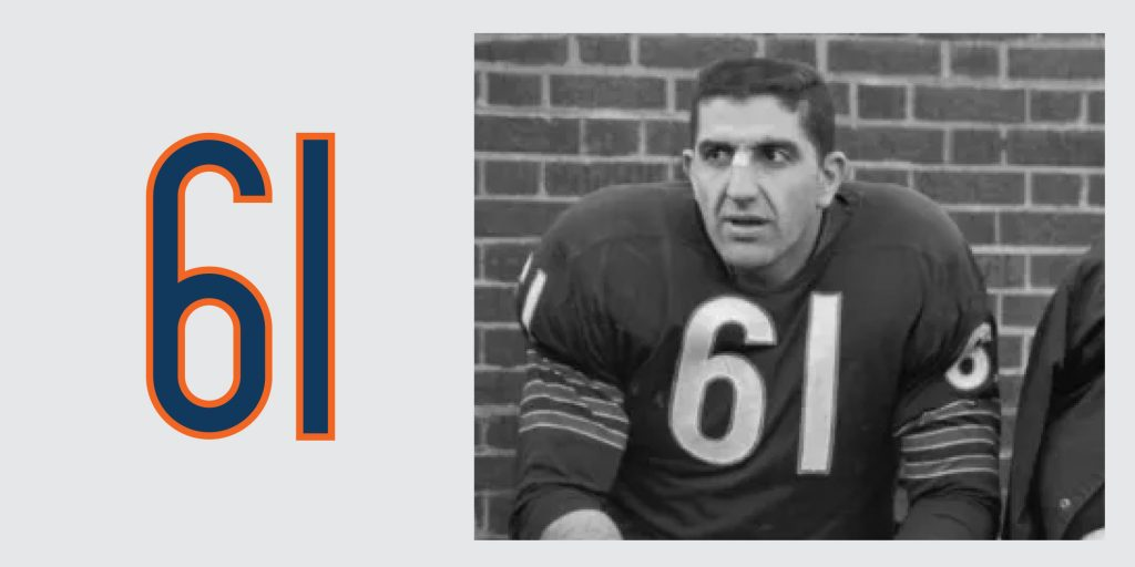 Chicago Bears Retired Jersey 61 Bill George